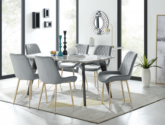 Andria Black Leg Marble Effect Dining Table and  6 Pesaro Gold Leg Chairs