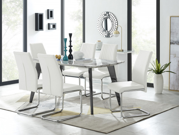 Andria Black Leg Marble Effect Dining Table and  6 Lorenzo Chairs