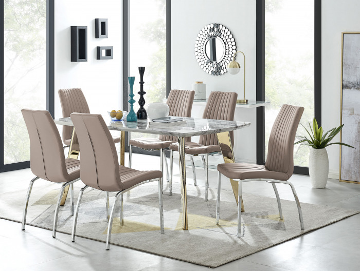 Andria Gold Leg Marble Effect Dining Table and  6 Isco Chairs