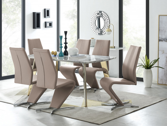 Andria Gold Leg Marble Effect Dining Table and  6 Willow Chairs