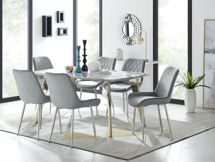 Andria Gold Leg Marble Effect Dining Table and  6 Pesaro Silver Leg Chairs