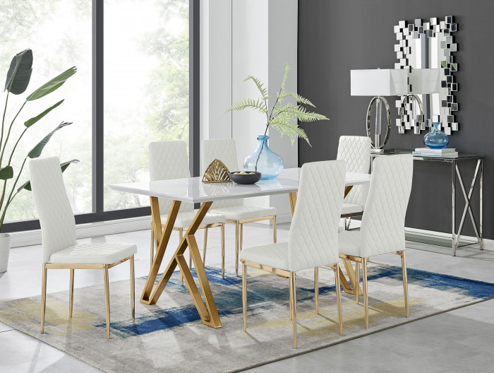 Taranto White High Gloss Dining Table and 6 Gold Leg Milan Chairs