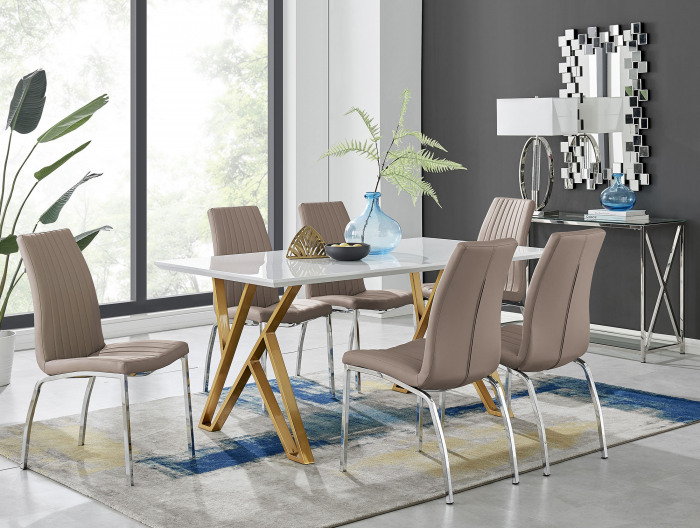 Taranto White High Gloss Dining Table and 6 Isco Chairs