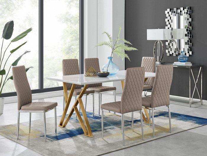 Taranto White High Gloss Dining Table and 6 Milan Chairs