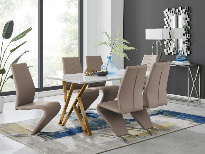 Taranto White High Gloss Dining Table and 6 Willow Chairs