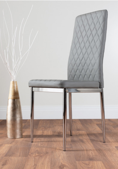 4x Milan Grey Chrome Hatched Faux Leather Dining Chairs