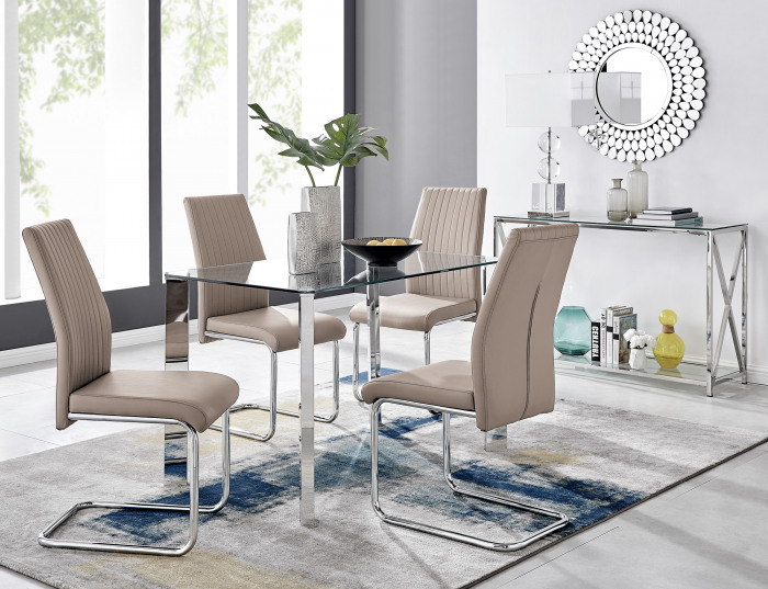 Lucia 4 Glass Chrome Table And 4 Modern Lorenzo Chairs Set
