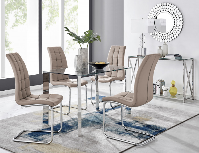 Lucia 4 Rectangular Dining Table and 4 Murano Chairs