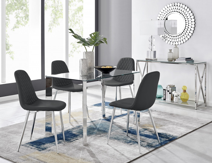 Lucia 4 Rectangular Dining Table and 4 Corona Silver Leg Chairs