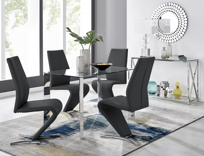 Lucia 4 Glass Chrome Table And 4 Luxury Willow Chairs Set