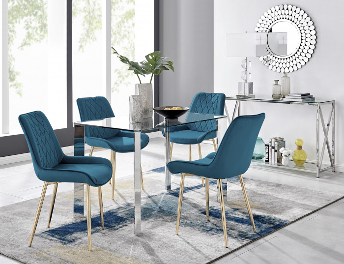 Lucia 4 Rectangular Dining Table and 4 Pesaro Gold Leg Chairs