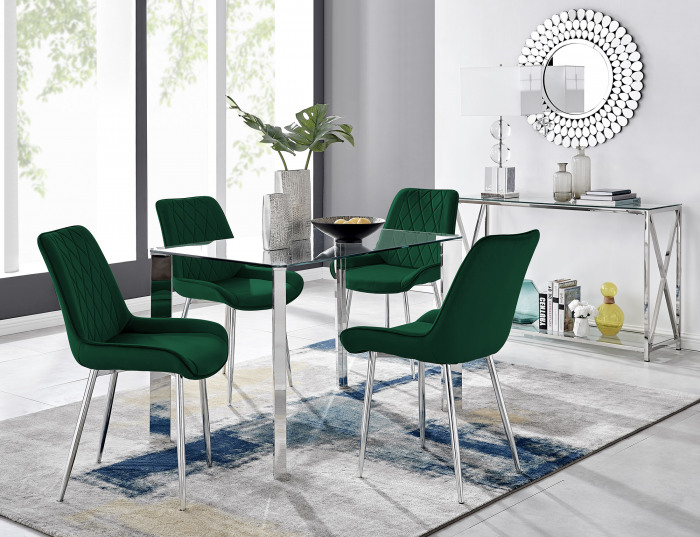 Lucia 4 Rectangular Dining Table and 4 Pesaro Silver Leg Chairs