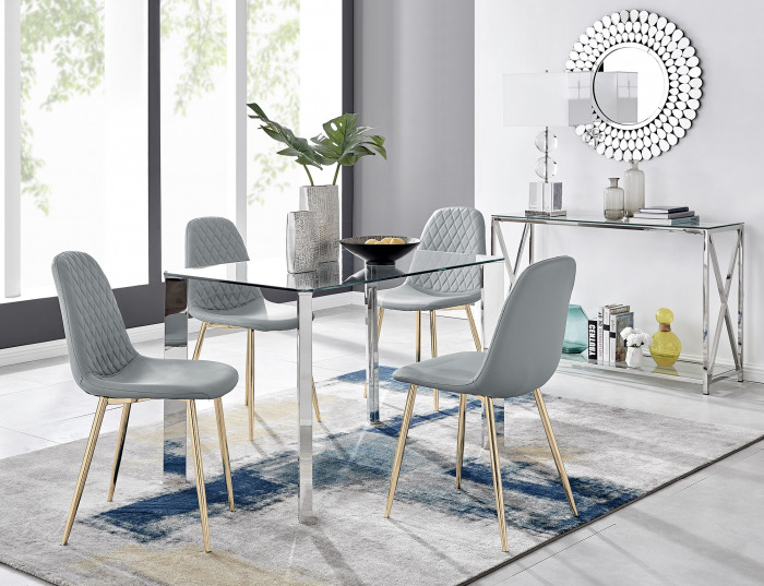 Lucia 4 Rectangular Dining Table and 4 Corona Gold Leg Chairs