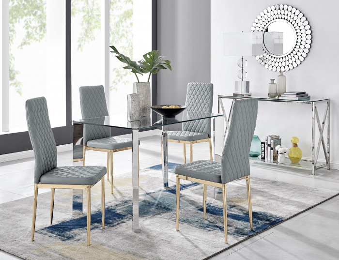 Lucia 4 Rectangular Dining Table and 4 Gold Leg Milan Chairs