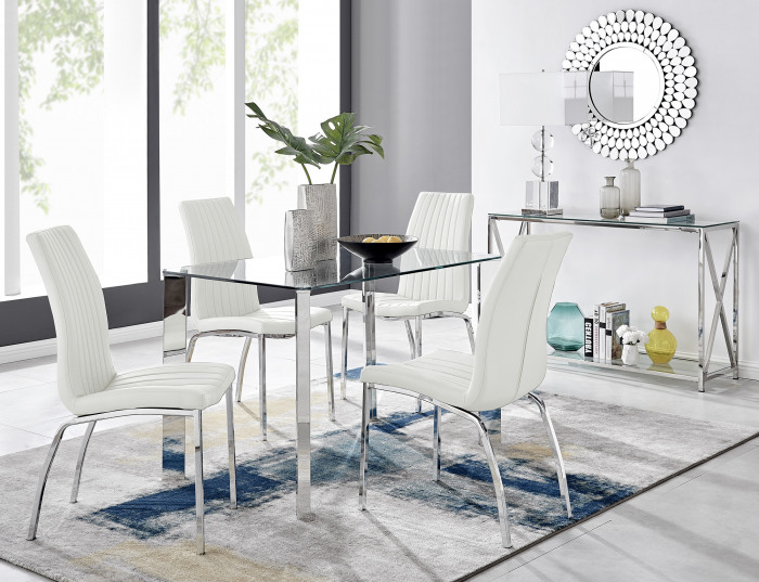 Lucia 4 Rectangular Dining Table and 4 Isco Chairs