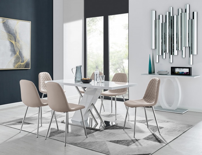 Sorrento White High Gloss And Stainless Steel Dining Table And 6 Corona Silver Dining Chairs