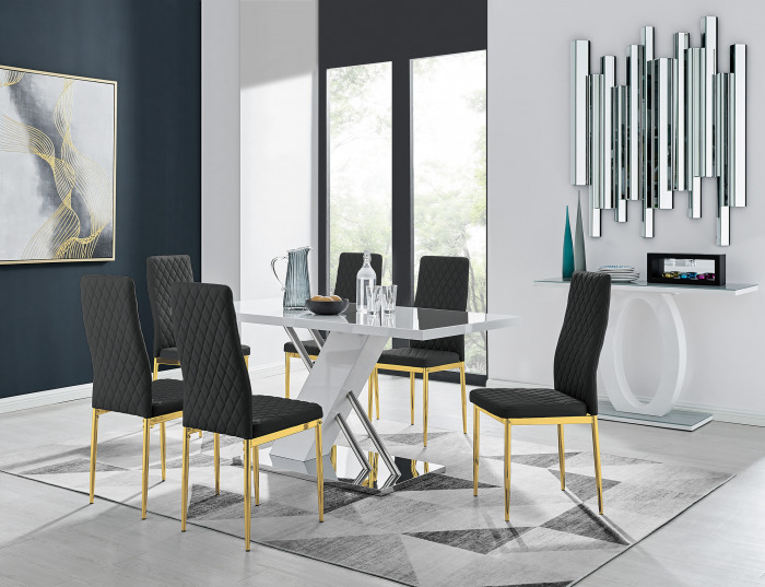 Sorrento 6 White Dining Table and 6 Gold Leg Milan Chairs
