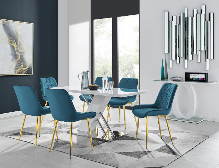 Sorrento 6 White Dining Table and 6 Pesaro Gold Leg Chairs