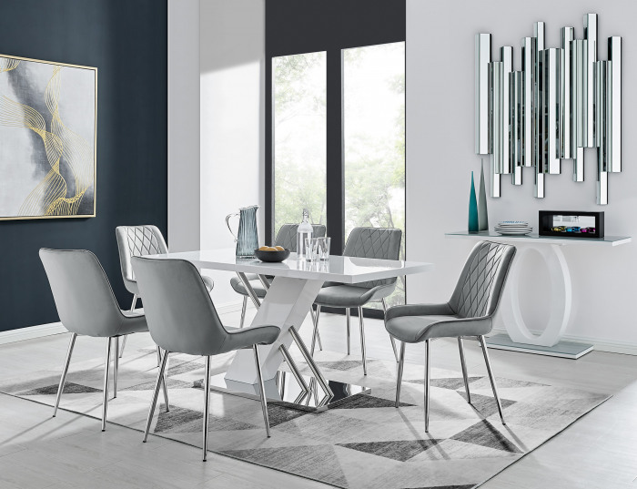 Sorrento 6 White Dining Table and 6 Pesaro Silver Leg Chairs