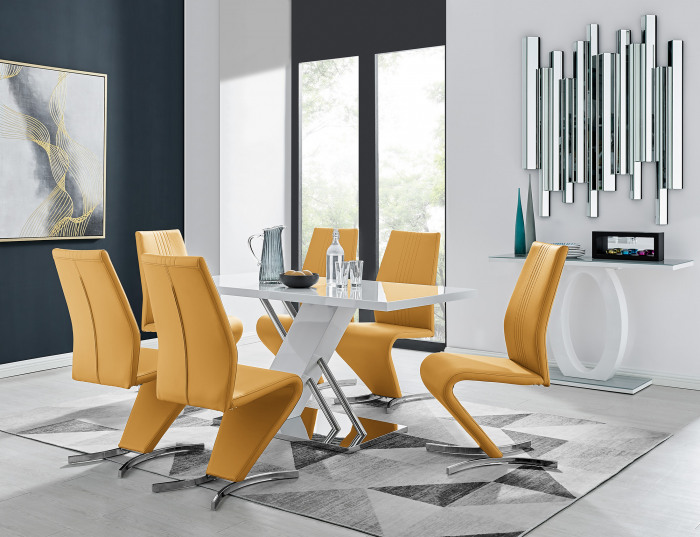 Sorrento White High Gloss And Stainless Steel Dining Table And 6 Willow Dining Chairs