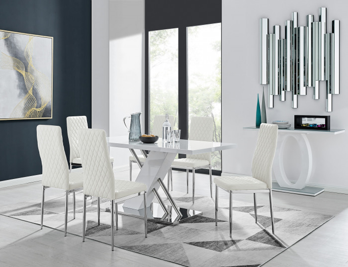 Sorrento White High Gloss And Stainless Steel Dining Table And 6 Milan Dining Chairs