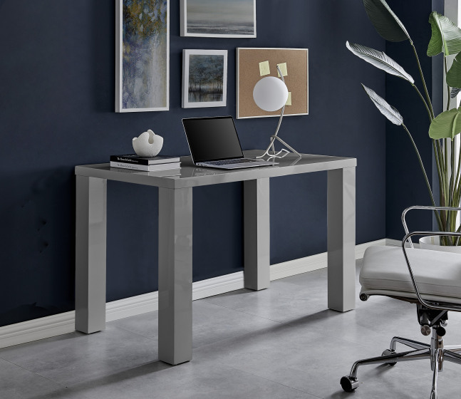 Pivero Grey High Gloss Computer PC Home Working Office Desk