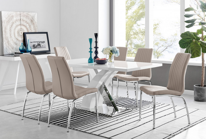 Atlanta Modern Rectangle Chrome Metal High Gloss White Dining Table And 6 Isco Chairs Set