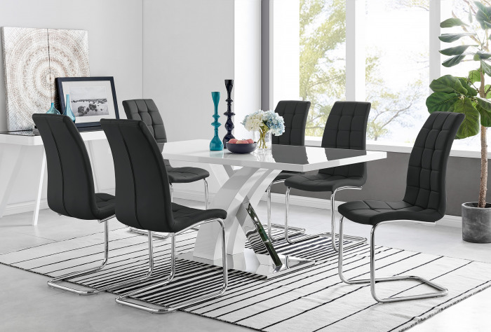 Atlanta Modern Rectangle Chrome Metal High Gloss White Dining Table And 6 Murano Chairs Set