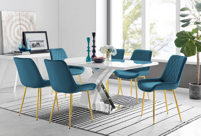 Atlanta 6 White Dining Table and 6 Pesaro Gold Leg Chairs