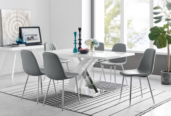 Atlanta Modern Rectangle Chrome Metal High Gloss White Dining Table And 6 Corona Silver Chairs Set