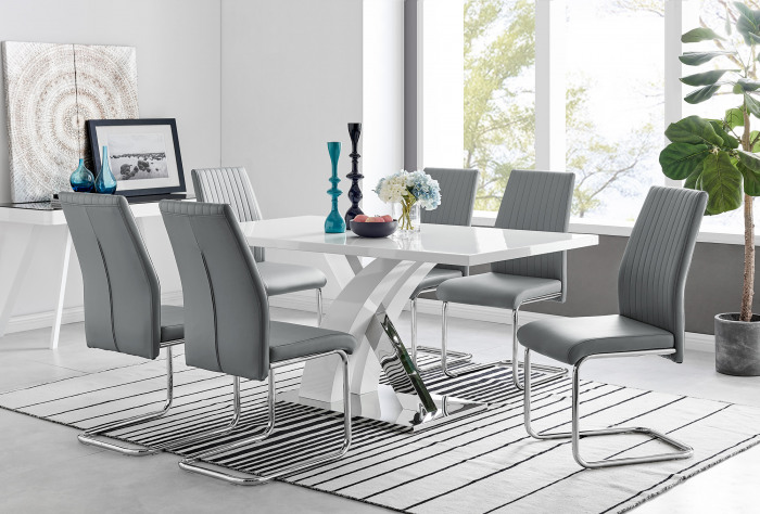 Atlanta Modern Rectangle Chrome Metal High Gloss White Dining Table And 6 Lorenzo Chairs Set