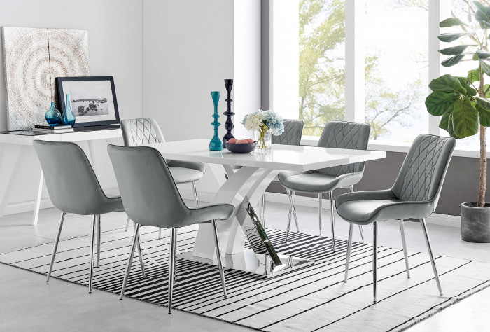 Atlanta 6 White Dining Table and 6 Pesaro Silver Leg Chairs