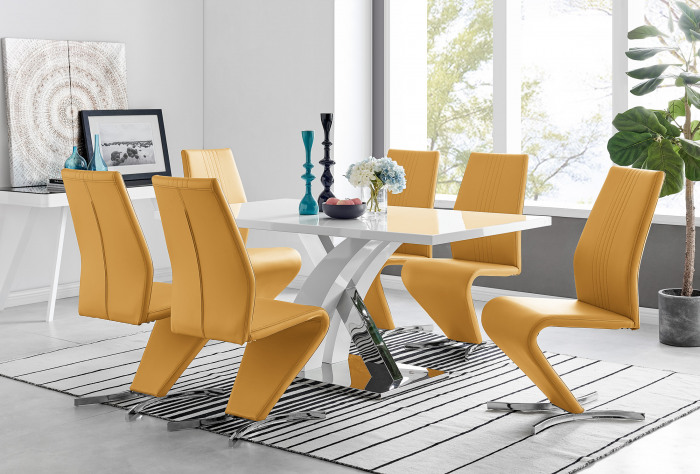 Atlanta Modern Rectangle Chrome Metal High Gloss White Dining Table And 6 Willow Chairs Set