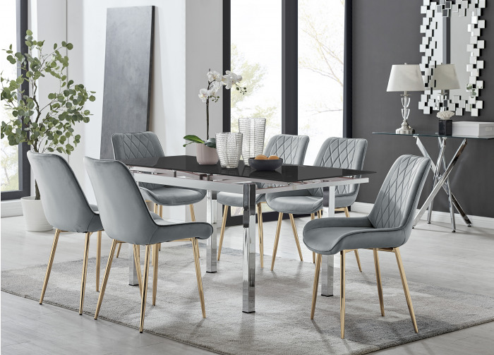 Enna Black Glass Extending Dining Table and 4/6 Pesaro Gold Leg Chairs