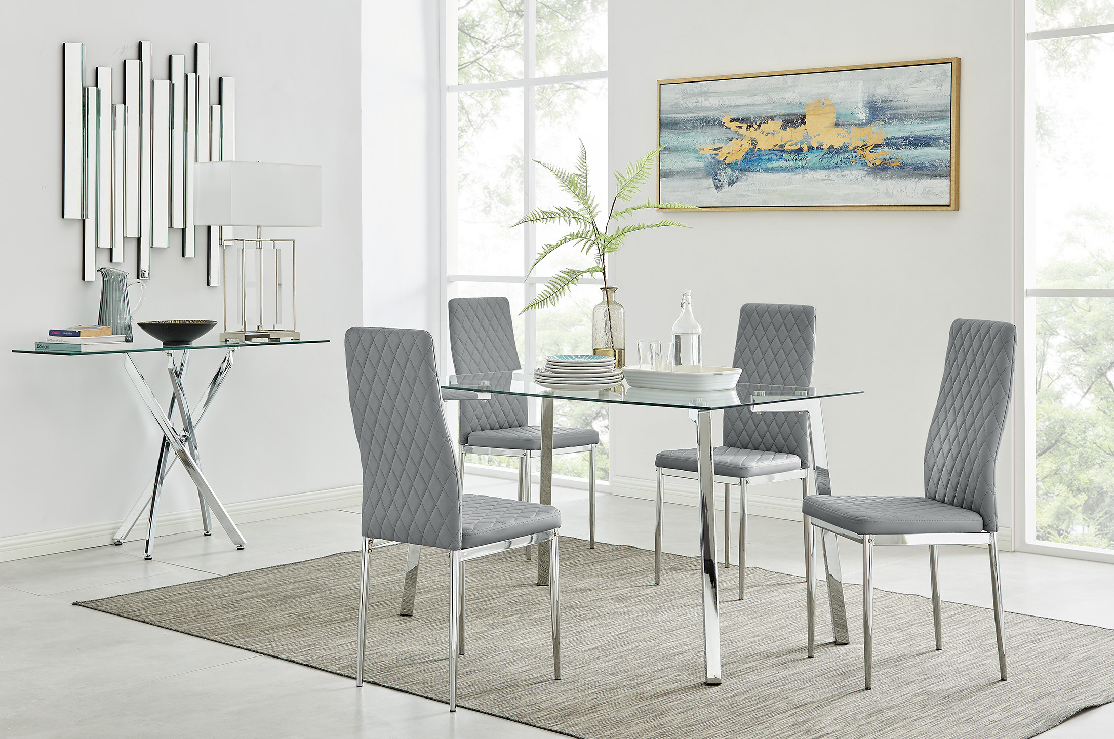 Cosmo Chrome Metal And Glass Dining Table And 9 Milan Dining Chairs Set