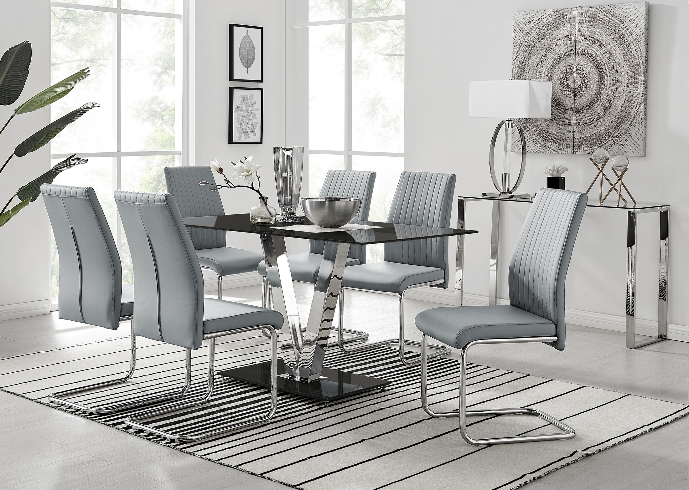 Florini Black Glass And Chrome Dining, Black Dining Table Chairs Set Of 6