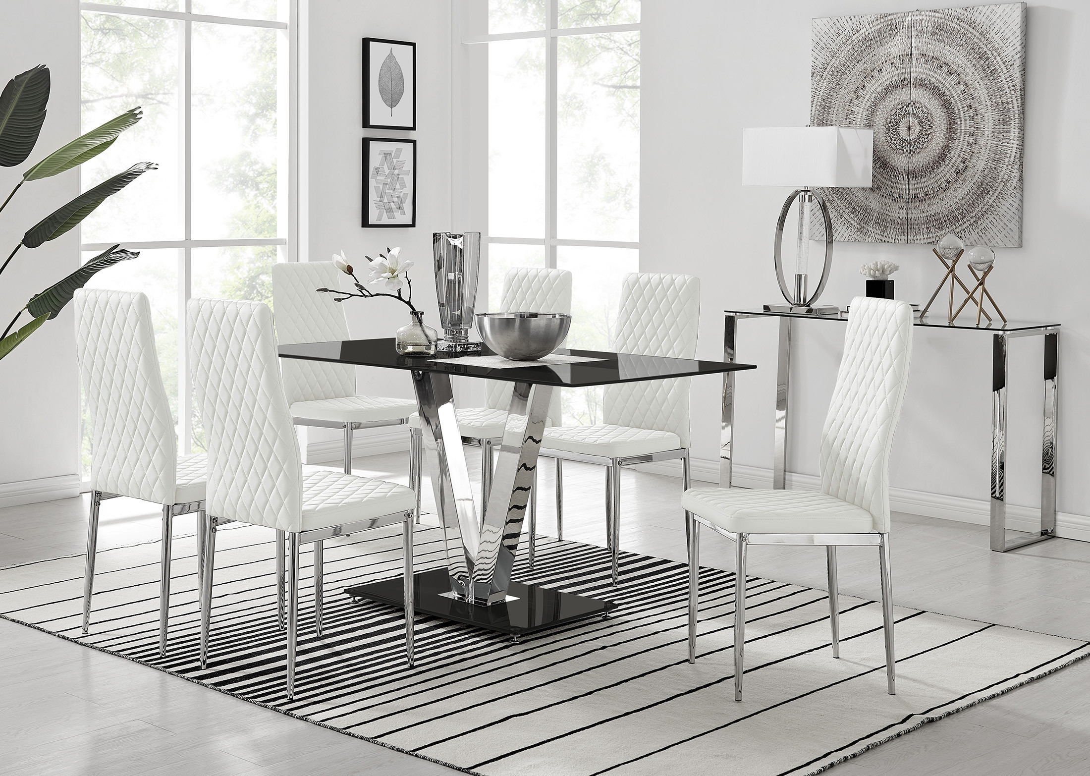 Dining Table 6 Milan Chairs, Black Dining Room Table