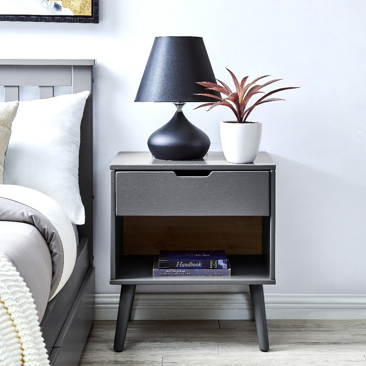 Alma Grey Modern Bedside Table Furniturebox