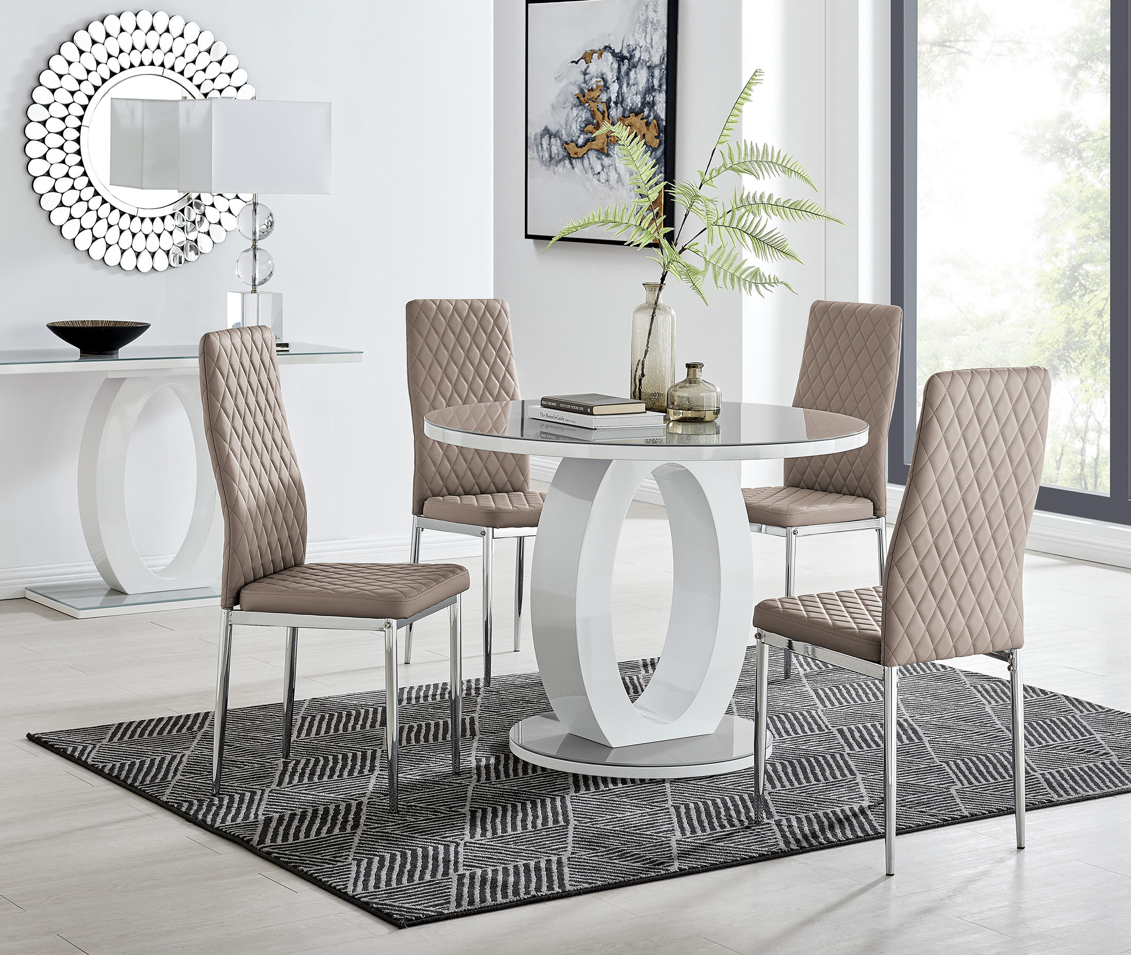 Grey White Round Gloss Dining Table, Dining Room Sets 4 Chairs