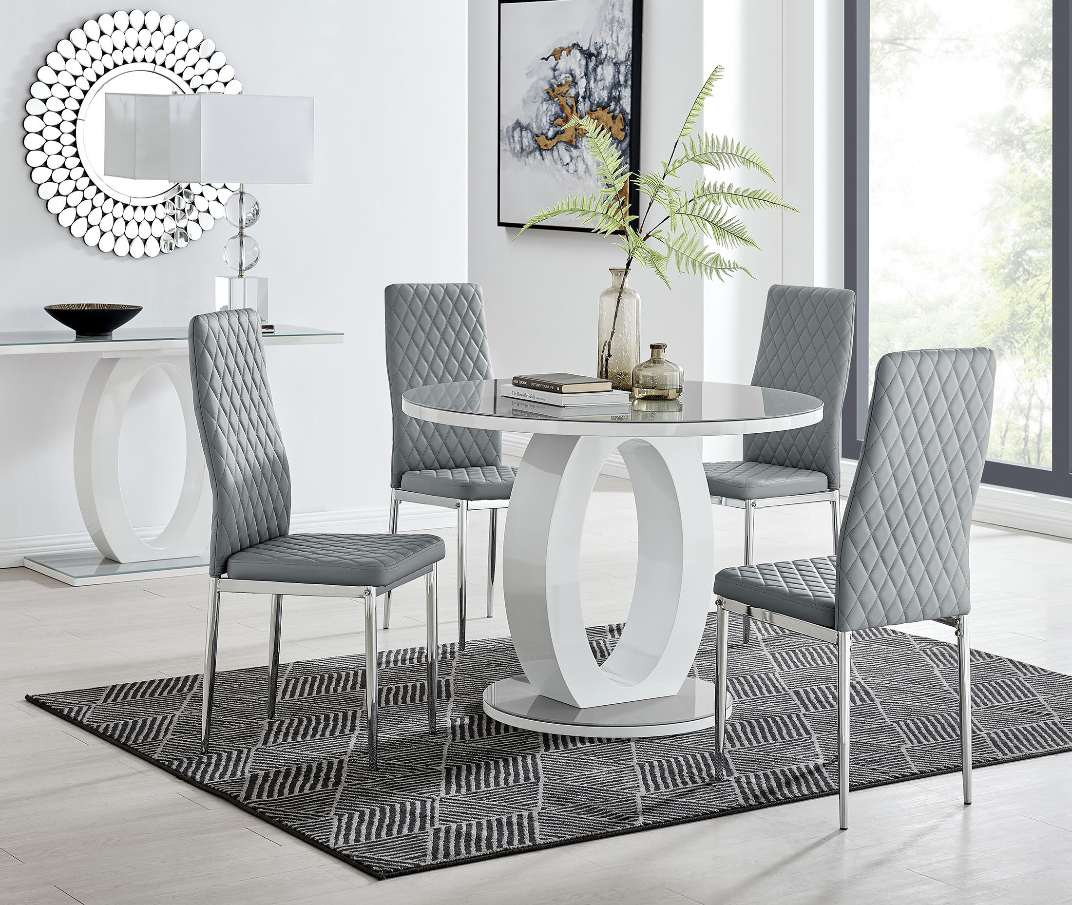Giovani Grey White High Gloss And Glass 9cm Round Dining Table And 9  Milan Chairs Set