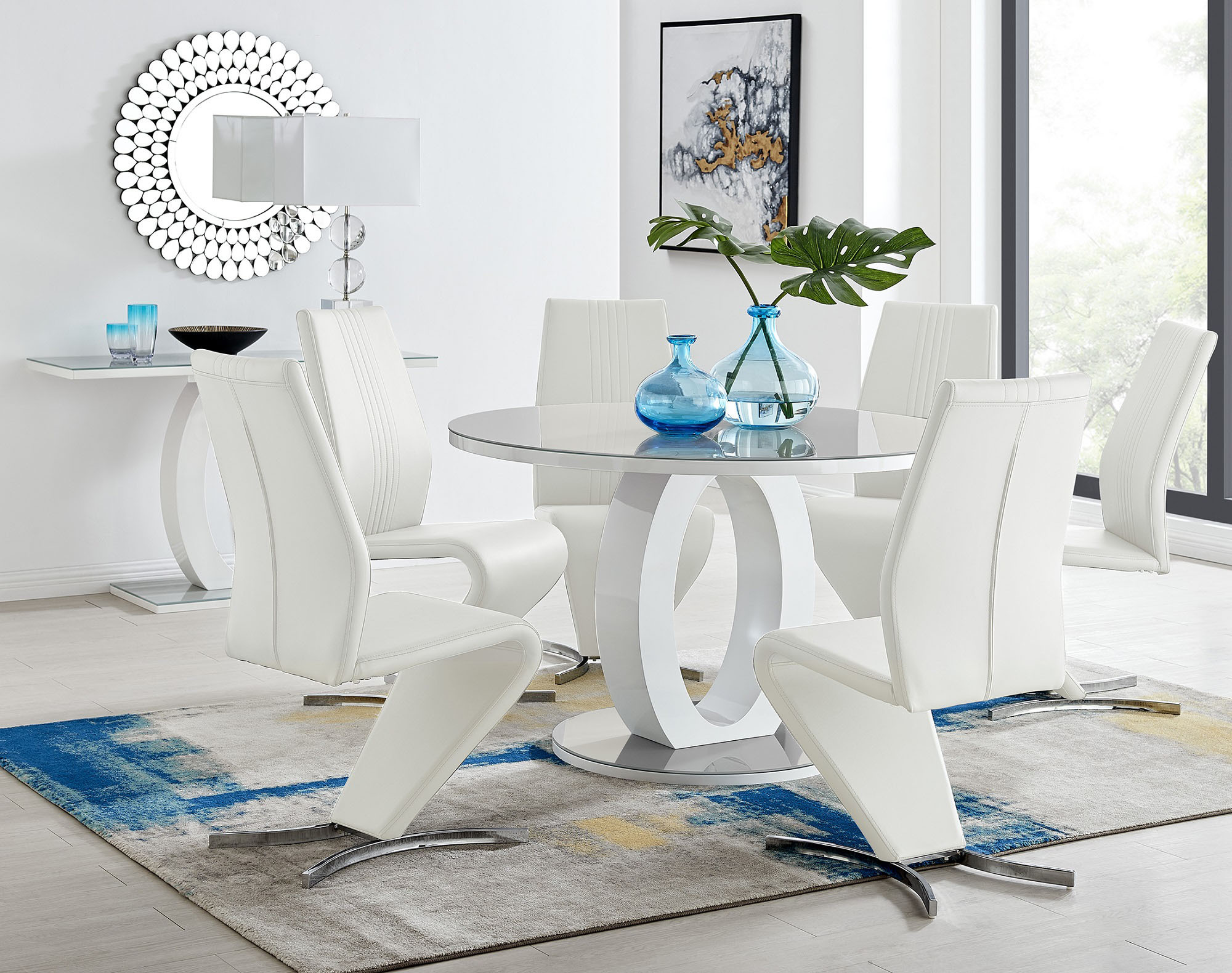 Grey White Round Gloss Dining Table 4 Willow Chairs Furniturebox