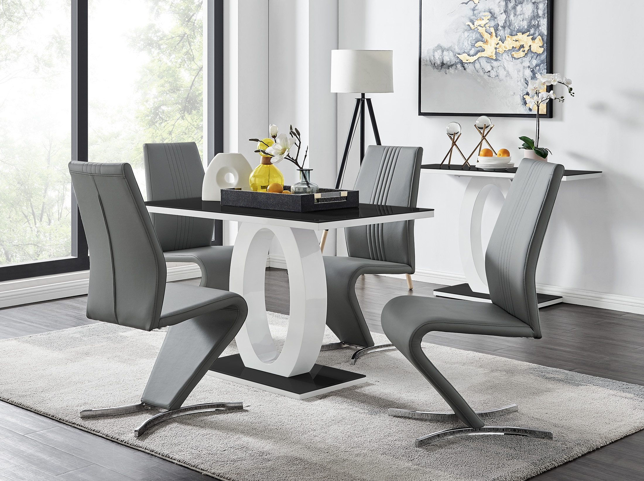 Black White High Gloss Dining Table, Dining Room Chairs Set Of 6 Black And White