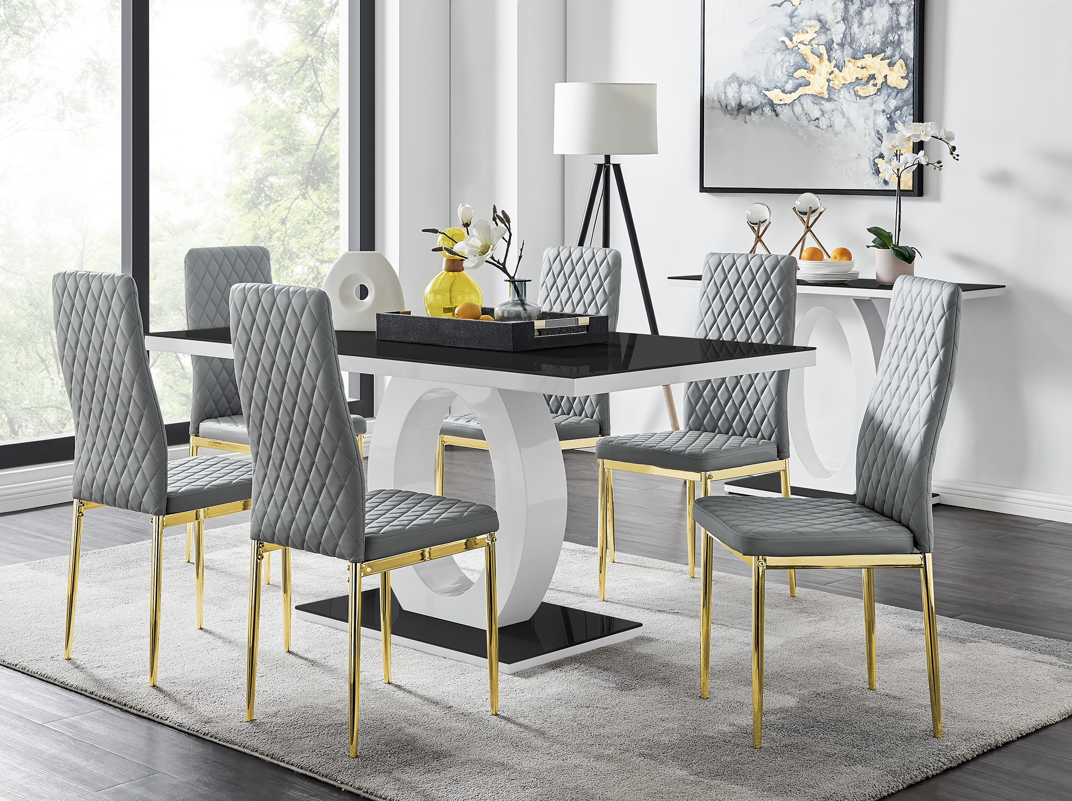 Giovani Black Dining Table 6 Milan, Black Dining Table Chairs Set Of 6