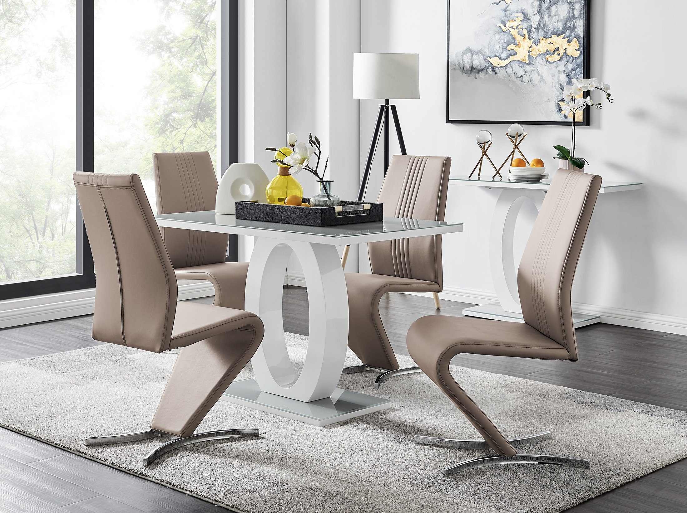 Grey & White High Gloss Dining Table & 9 Willow Chairs   Furniturebox