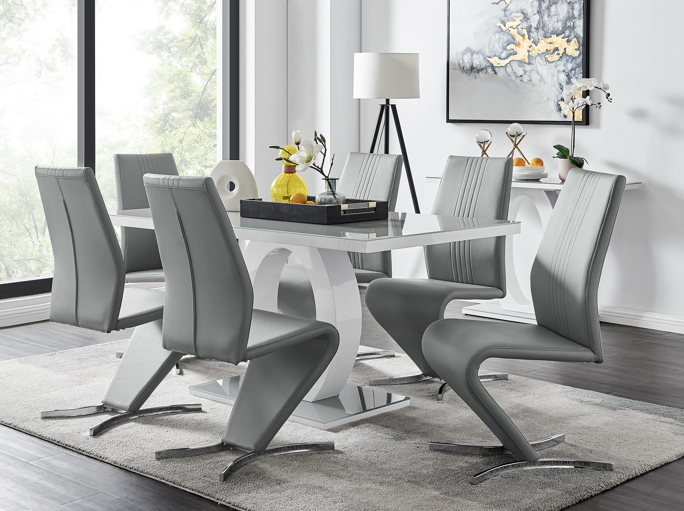Grey White High Gloss Dining Table, Grey And White Dining Room Table With Bench
