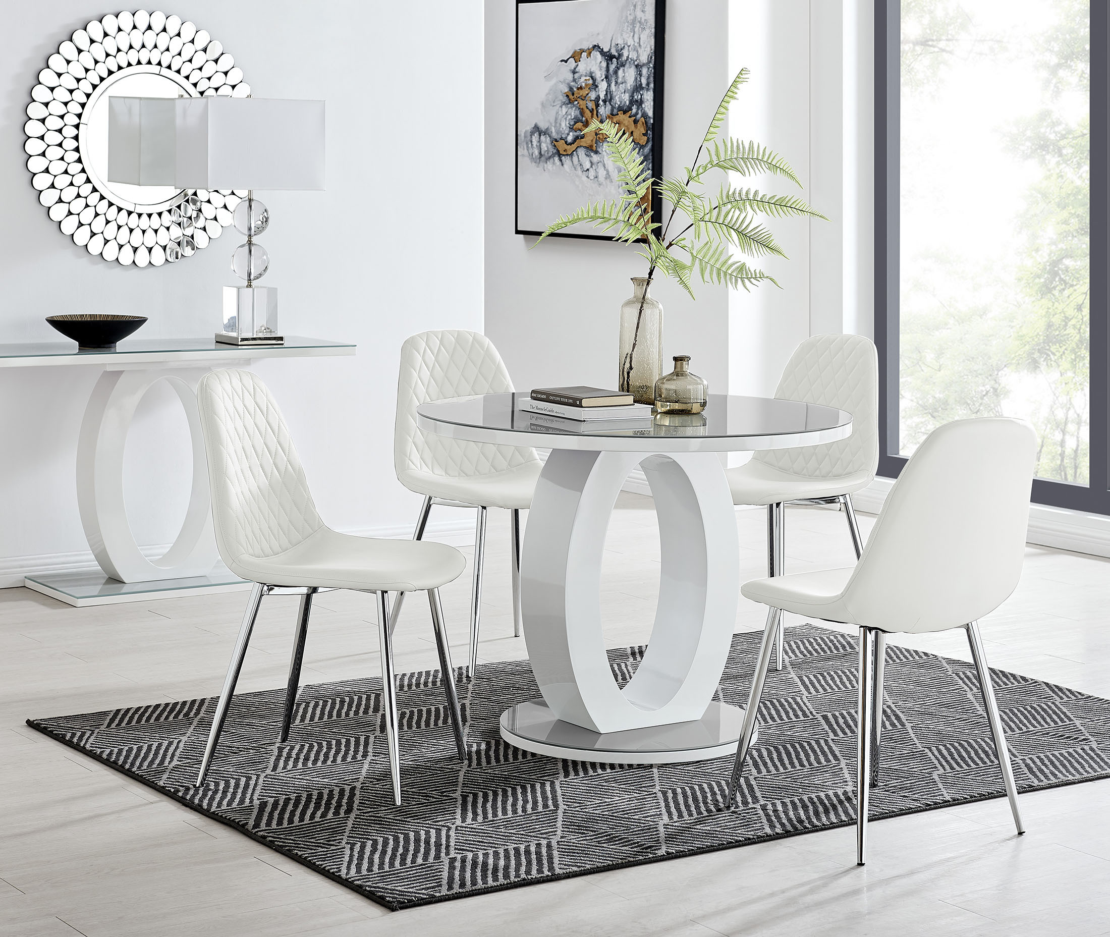 Grey & White Round Gloss Dining Table & 9 Silver Leg Chairs   Furniturebox