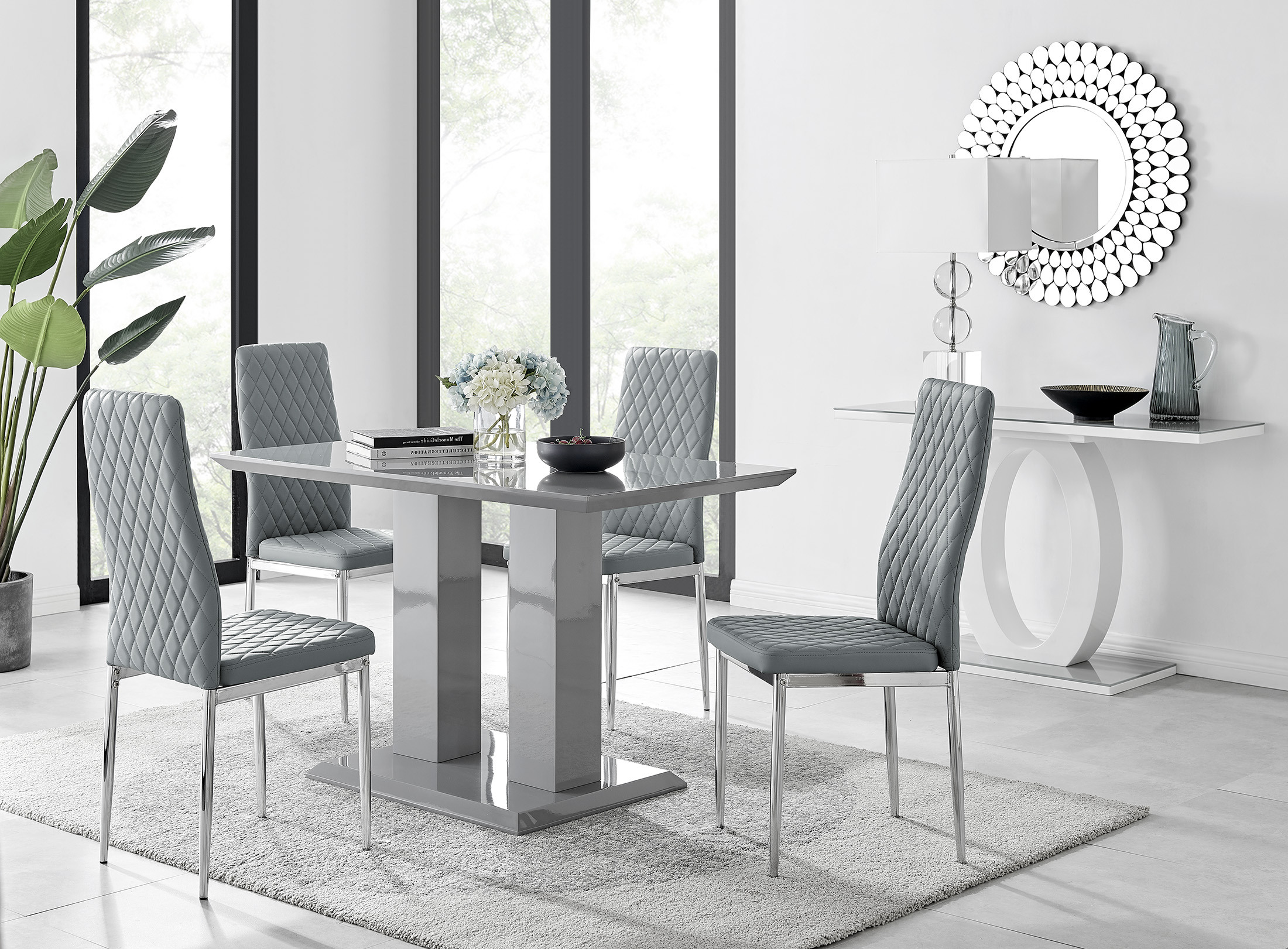 Imperia 9 Modern Grey High Gloss Dining Table And 9 Modern Milan Chairs Set