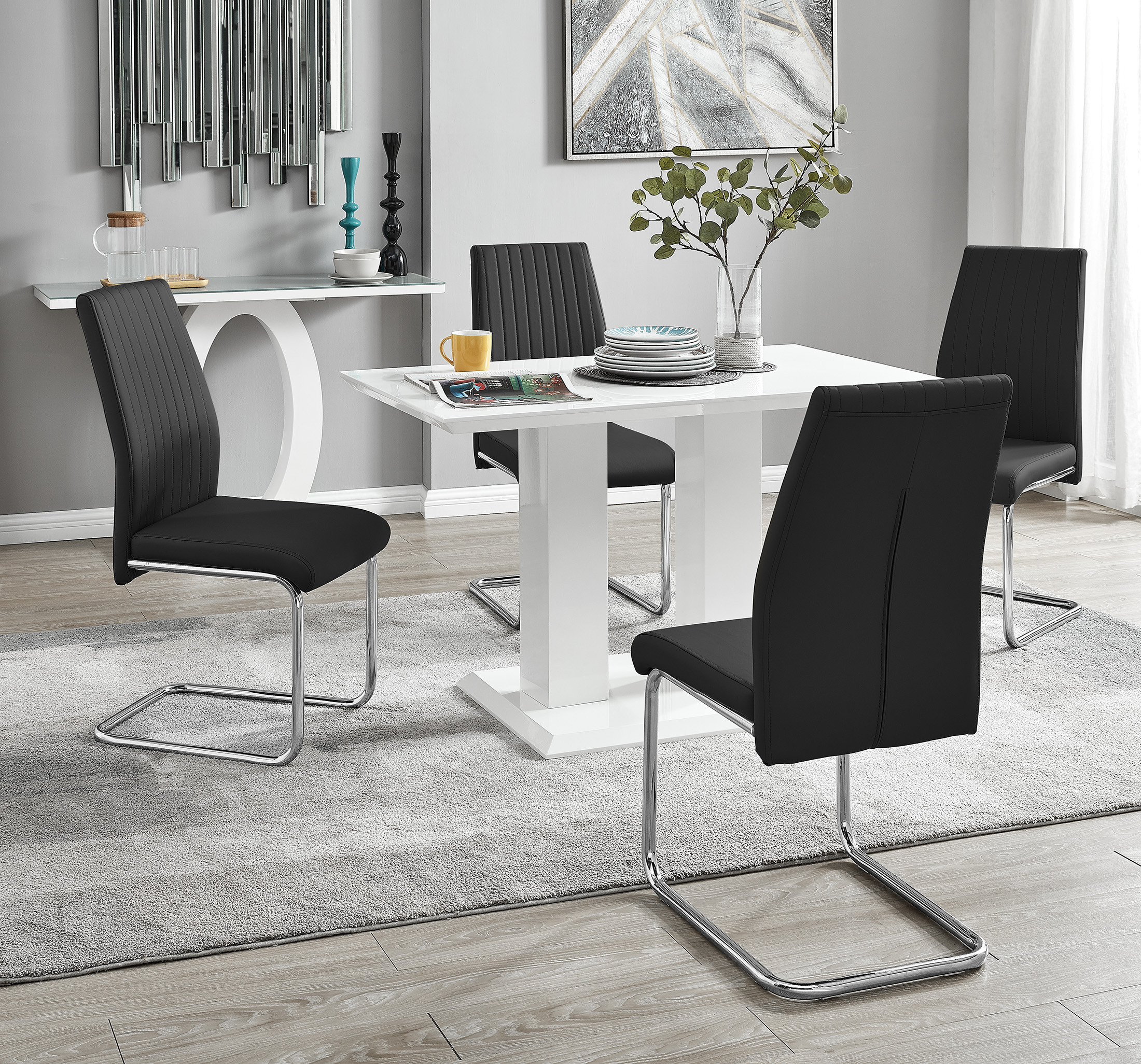 Imperia 9 Modern White High Gloss Dining Table And 9 Lorenzo Chrome Dining  Chairs Set