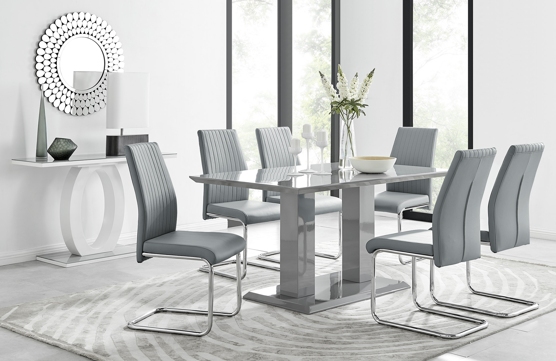 Imperia Grey Dining Table 6 Lorenzo, Modern Dining Room Table And Chairs Set