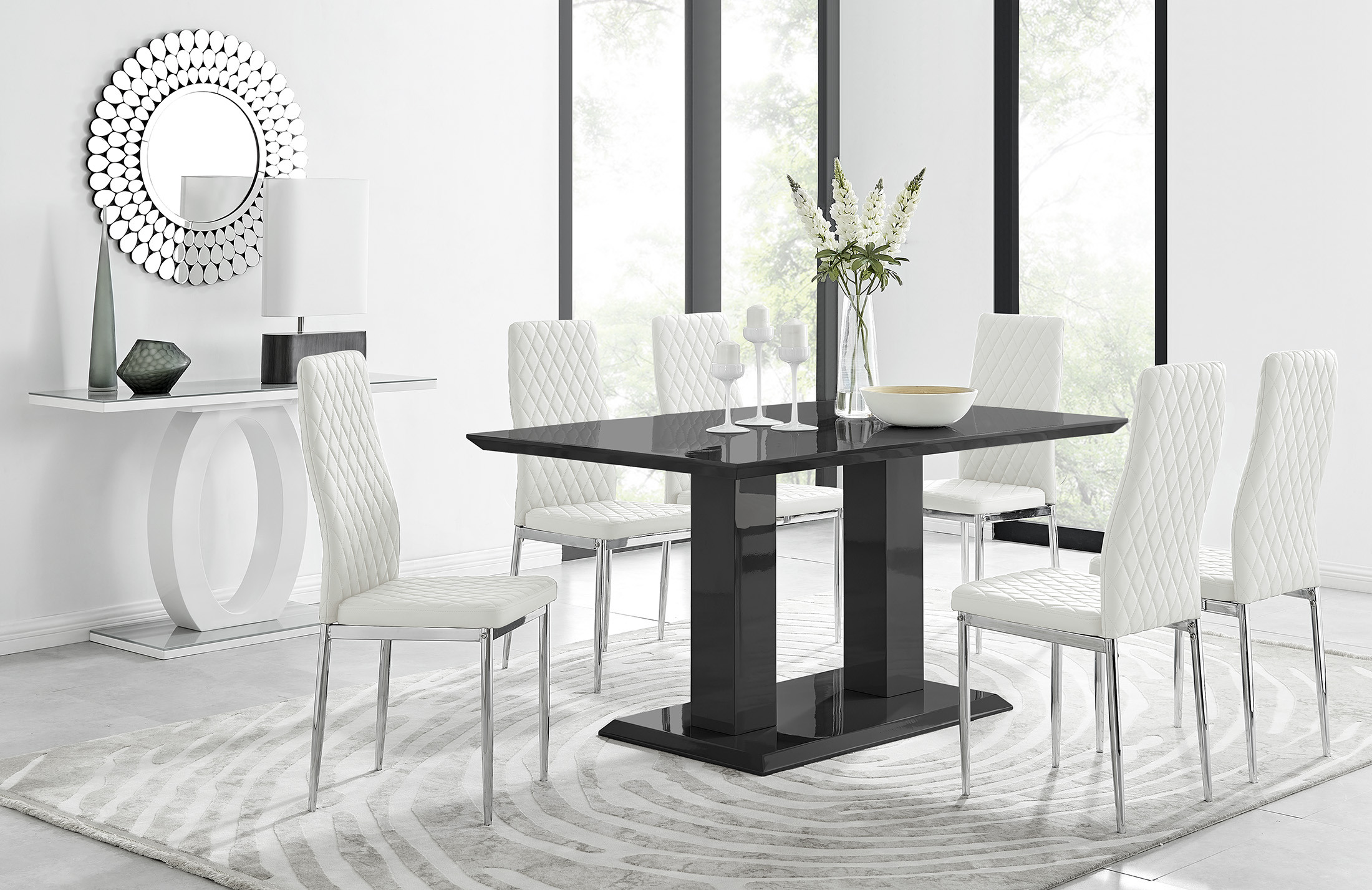 Imperia Black Gloss Dining Table 6, Black Dining Table Chairs Set Of 6